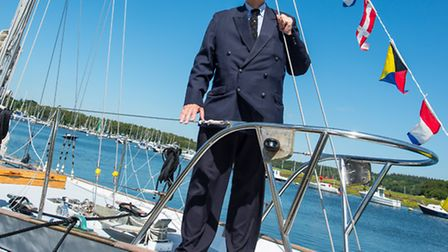 Sir Francis' son Giles is delighted to see his father's boatback at Buckler's Hard (Photo by Jason A