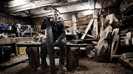 Dan the tree surgeon in his workshop in Pirbright - a portrait that was done for a series on local p