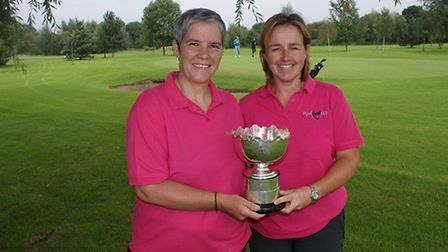 Winners pictured with trophy (left Aileen)