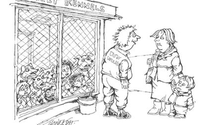 Affordable childcare cartoon by Martin Honeysett on display at Hastings Museum and Art Gallery