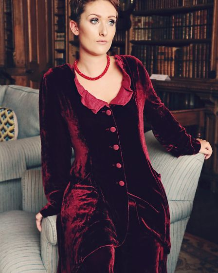 Perfect for a Christmas day party, Out of Xile velvet suit in burgundy. Jacket £286, trousers £168