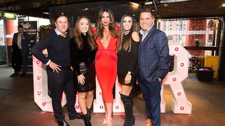 Fashion designer Philip Armstrong with Nicola Carragher, Danielle Lloyd, Laura Warnock and Tony Burk