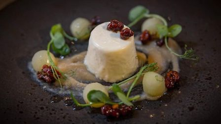 Goats cheese panna cotta at The Dining Room at Llanrhaeadr Springs