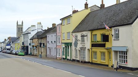 High Street in Honiton, Devon famous by antique shops