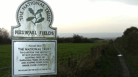 Looking back across the fields to the coast from Heswall Fields