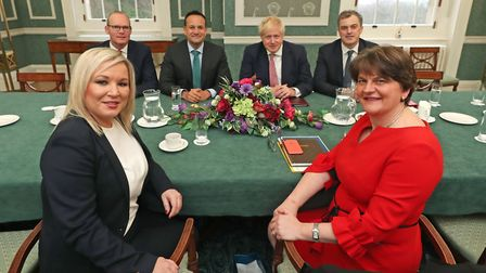 Arlene Foster of the DUP (front right), deputy First Minister Michelle O'Neill (front left) of Sinn