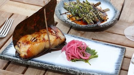 Main; Black Cod served with Rice and Asparagus, Miso and Pickled Onions