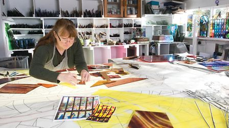 Amanda creating her next stained glass masterpiece (detail)