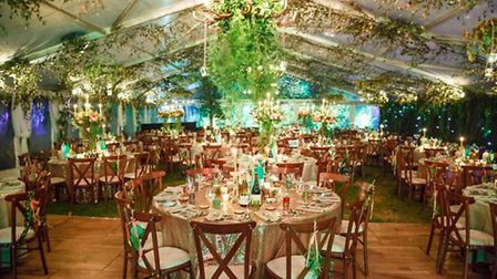 The marquee was perfectly decorated for an enchanted woodland theme (c) Oasis Events