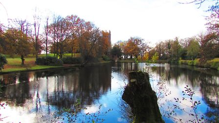 View over ponds at Gawsworth towards St James the Great Church