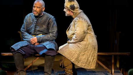 Don Warrington as King Lear and Miltos Yerolemou (The Fool) in King Lear at the Royal Exchange Theat