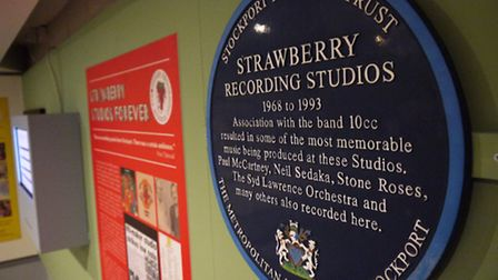 A blue plaque reminds us of Strawberry Studios' place in pop history