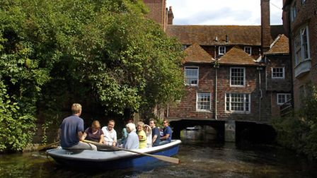 Canterbury Historic River Tours offer rowing boat trips up and down the city's narrow River Stour