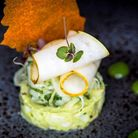 Fennel, pear and avocado tartare; vanilla & fennel gel; topped with a carrot shard and pear carpacci
