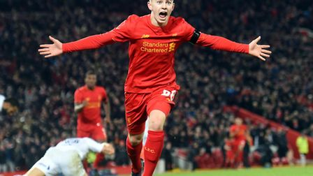 Ben Woodburn the moment he scored his record-breaking goal in the EFL Cup quarter final against Leed
