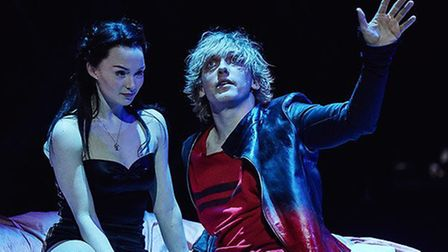 Christina Bennington as Raven, with Andrew Polec as Strat, in Bat Out of Hell, The Musical. Credit: