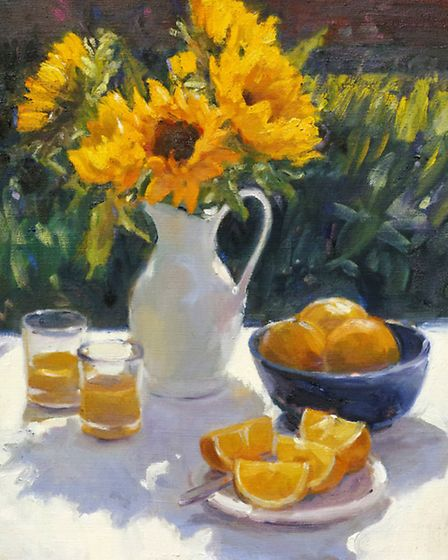 Sunflowers and Oranges, by Edward Noott RBSA, oil on canvas (John Noott Gallery)
