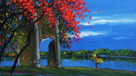 Late Afternoon by the Lake, by Le Thanh Son, oil on canvas (Hanoi Art House)