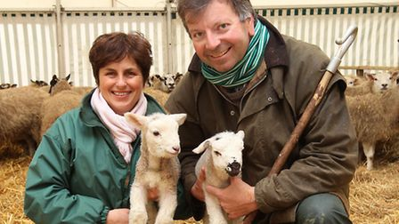 Willows Farmers Anna and Andrew Wolfe with the first newborn twin lambs of the year