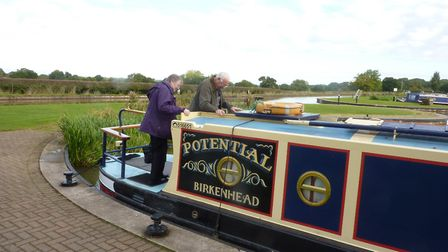 Boarding the narrowboat ready for a trip down the Shropshire Union Canal. Picture by Anne Brenchley