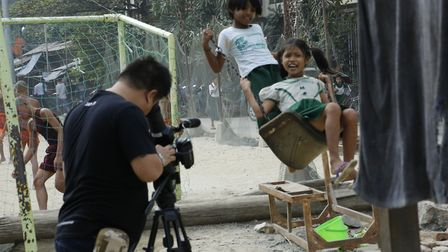 Thaddhi, part of the Grammar Productions team, on shoot in Mandalay November 2016