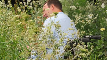 Mark filming for BBC Gardeners' World from his own garden in Bramling. Something funny cannot stop M