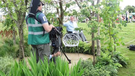 Mark presenting for the BBC at RHS Hampton Court Palace Flower Show 2016, talking about the use of o