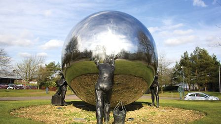 A Different Ball Game by Kevin Atherton. This striking piece installed in 1993 consists of a 10ft di