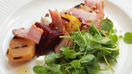 Darren's local Smokehouse duck, barbecued beetroot salad, candied walnut and sherry dressing