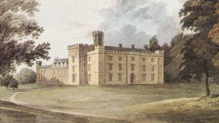 Watercolour dated 1810 by H. Cornish of the north and east of Chiddingstone Castle
