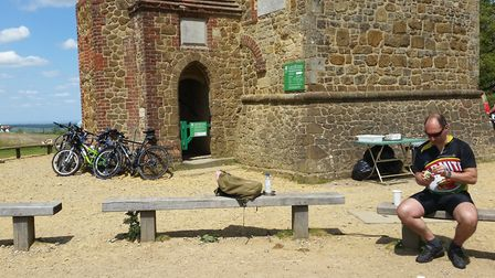 Literally, a 'Marmite' rider relaxing at the top of Leith Hill! (Photo: Christine Howard)