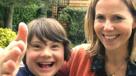 Sally Phillips with Olly