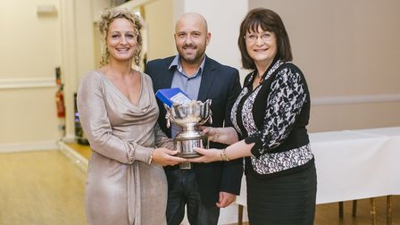 Mark and Rebecca, left, receiving their Cheshire Equestrian Facility of the Year Cup