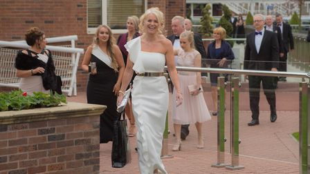 Lesley Boreham making a glamorous entrance with other guests