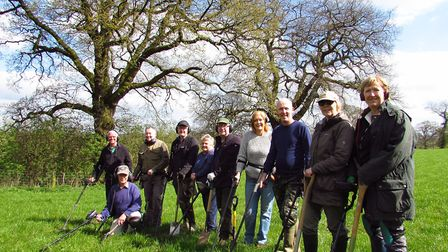 Members of Crewe and Nantwich Metal Detecting Society on a rally in Cotebrook, near Tarporley