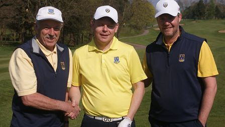 David is congratulated on his new record by Cheshire Team Captain Chris Harrison and Roy Smethurst,
