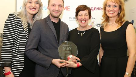 The Stage Door Foundation Award for Excellence was awarded to Take Back Theatre. Photographed here a