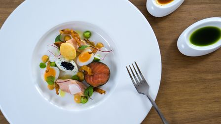 Sea trout ballotine, smoked fillet, quail egg, pink fir potato, curry spices and fromage blanc from