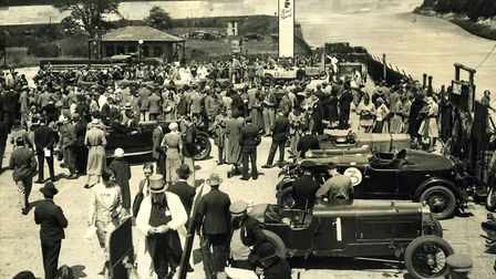 A paddock scene from Brooklands heyday