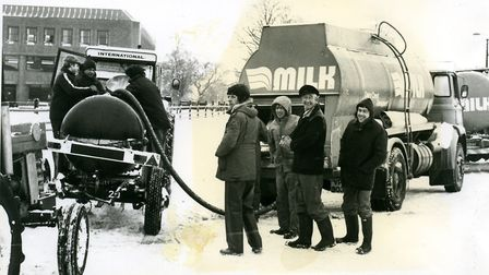 The Milk Marketing Board collecting milk in the snow, all met at Tiverton Rugby Club where they used