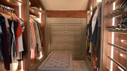 Walk in dressing room with shoe storage