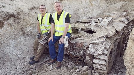 Stephen Taylor and Suggs with the recovered WW2 Tank at Denbies (Photo: History/Justin Downing)