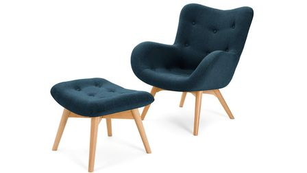 Put your feet up Slanted legs give this chair the perfect reclining angle and the padded high back