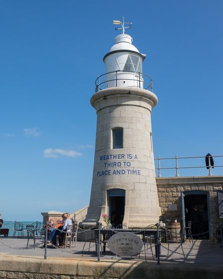 The Lighthouse Champagne Bar at the tip of the harbour arm