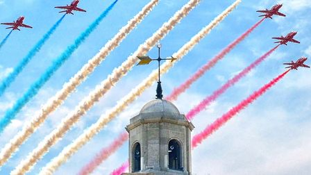 Red Arrows passing over Herne Bay Clock Tower (photo: Alan Porter Images)