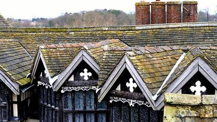 Rooftops of Little Moreton Hall by Jane Jennings