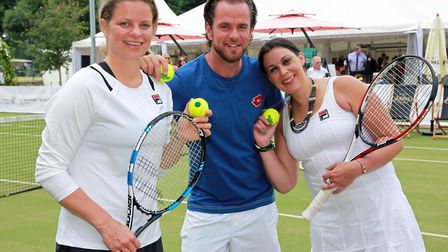 Belgium's Xavier Malisse and Kim Clijsters (left) with France's Marion Bartoli