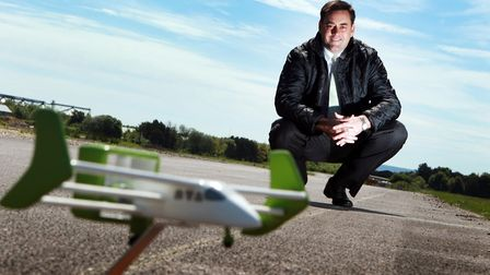 Neil Cloughley, managing director of Faradair with the first concept model of their Bio Electric Hyb