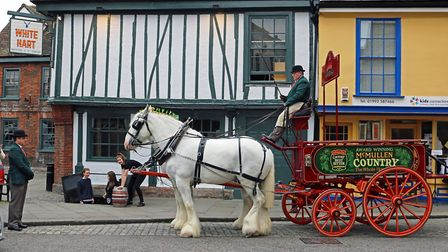 McMullen brewery's horses and dray outside The White Hart, Hertford. Is the county town the real Mer