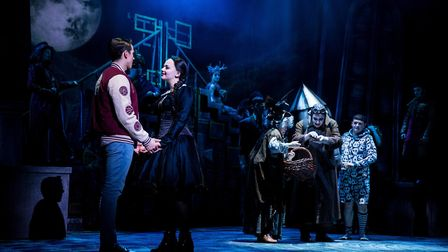 Oliver Ormson, Carrie Hope Fletcher, Valda Aviks, Les Dennis and Grant McIntyre in The Addams Family